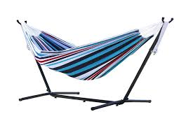 Free Standing Hammock Vivere Double Cotton Denim Hammock With Stand Multi Colour