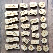 wood words new engraved wood days of the week months numbers lead shop