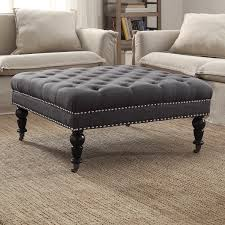 Round Coffee Table With Storage Ottomans Grey Leather Ottoman Coffee Table Roselawnlutheran