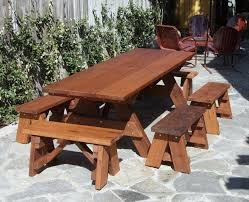 Free Wooden Picnic Table Plans by Redwood Outdoor Picnic Bench Made With Extra Wide Boards