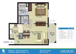 One Bedroom Apartment Layout Floor Plans Of Al Ghadeer