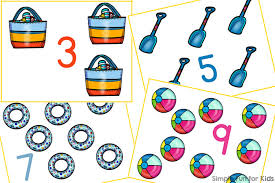 beach gear counting cards simple fun for kids