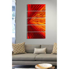 Metal Home Decor Wholesale Blaze Red And Gold Metal Wall Art 5 Panel Wall Decor By Jon