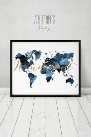 Etsy World Map by Wanderlust Travel Map World Map Watercolor Print World Map