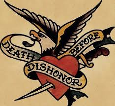 traditional font death before dishonor tattoo