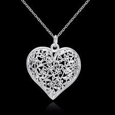 flower silver necklace images Hollow flower heart 925 sterling silver necklace jpg