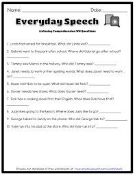 1st Grade Reading Comprehension Worksheets Free Worksheet Listening Comprehension Worksheets Spincushion