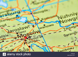 Moscow Map Moscow Capital City Of Russia On The World Map Stock Photo