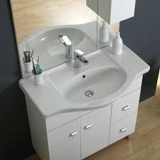 armadietto bagno con specchio composizione bagno 85 cm a terra con lavabo specchio e pensile bianco