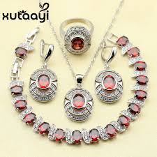 accessories ring necklace images Red garnet white zircon princess wedding jewelry set 925 sterling jpg