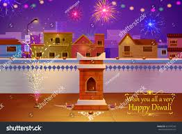 home decoration in diwali vector illustration indian house decorated diya stock vector