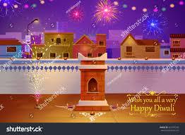 vector illustration indian house decorated diya stock vector