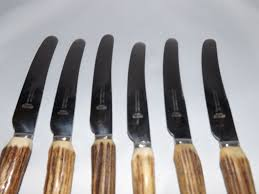 vintage set of 6 antler handle dinner knives by james lodge from