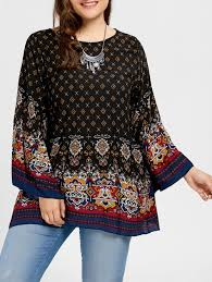 plus size blouse blouses black 5xl bell sleeve tribe print plus size blouse gamiss