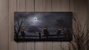 radiance flickering light canvas radiance lighted canvas owloween night halloween owl shelley b home