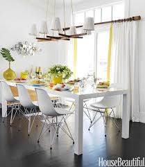 Parsons Kitchen Table by A Surfer Chic Beach House Eames Chairs Yellow Dining Room And