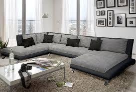 canape tissu angle canapé d angle design luberon en pu et tissu coloris noir et gris