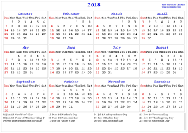 free 2018 usa printable calendars with holidays printable