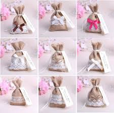 100pcs mixed style jute hessian candy bags burlap gifts bags lace
