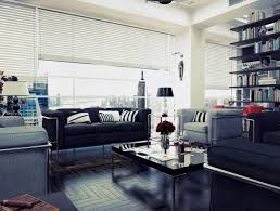 furniture bold industrial room with black leather sofa and small