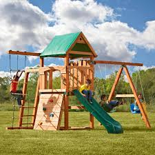 Backyard Swing Sets Canada Swing N Slide Pb 8320 Trekker Play Set Walmart Com