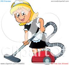 clipart of a cartoon happy blond maid vacuuming royalty free