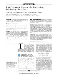 risk factors and outcomes for foreign body left during a