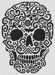 white willow stitching tribal skull cross stitch pattern