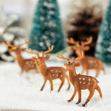 Vintage Deer Christmas Decorations miniature plastic deer ornaments miniatures ornament and craft