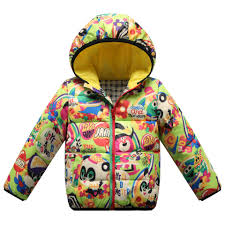 children down coat jacket cartoon animal print overcoat winter