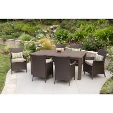 Outdoor Wicker Chairs With Cushions Hampton Bay Tacana 7 Piece Wicker Outdoor Dining Set With Beige
