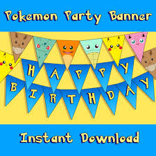 Happy Halloween Banner Printable Pokemon Inspired Party Banner Instant Download Printable