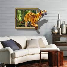 3d removable tiger wall decal wall stickers home bedroom wall