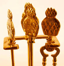 set of brass fireplace tools in rack with pineapple finials ebth