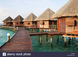 water bungalows in the maldives thulhagiri island stock photo