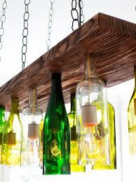 Wine Bottle Light Fixtures Kitchen Beautiful Wine Bottles And Solid Wood Light Stylish Ideas