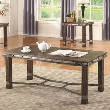 Industrial Rustic Coffee Table Coaster 703548 Industrial Rustic Coffeetable With Metal Accent And