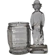 1930s charlie chaplin glass bank toothpick holder from