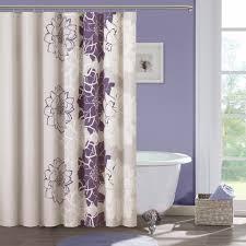 Purple And Cream Bathroom Cream And Purple Elegant Shower Curtains In A Modern Bathroom Jpg