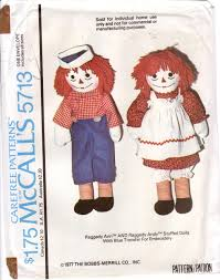 vintage 1977 mccalls sewing pattern 5713 raggedy ann and raggedy