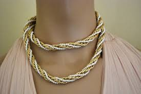bead rope necklace images Twisted rope necklace gold tone with white beads vintage renude jpeg