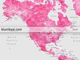 World Map Mexico by Custom Quote Gray And Pink Watercolor Printable World Map