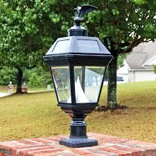 outdoor lamp post light solar baytown black 19 high tri mount