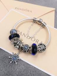 pandora jewelry silver bracelet images Pandora charm bracelet with blue theme 7pcs charms JPG