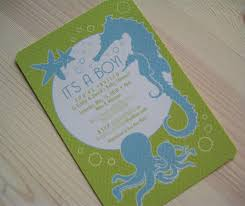 paper squid sea themed baby shower invitations