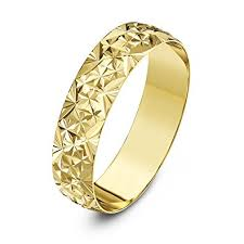 Yellow Gold Wedding Rings by Theia Unisex Heavy Weight D Shape With Diamond Like Design 9 Ct