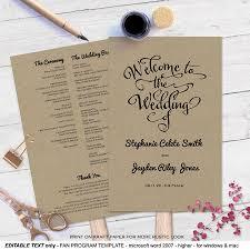 diy wedding fan programs modern rustic diy wedding program fan template wedding