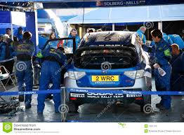wrc subaru engine subaru world rally team garage editorial image image 7391740