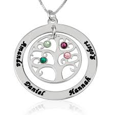 Birthstone Name Necklace Sterling Silver Family Tree Birthstone Name Necklace Shop Now
