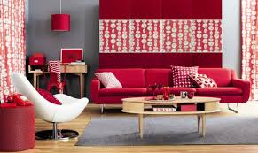 interior decoration bright living room with red modern sofa near